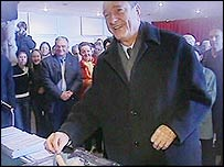 President Jacques Chirac voting in France's regional elections