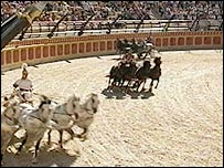 A Roman-style chariot race at the Puy du Fou themepark