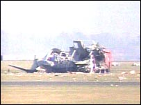 Crashed Merlin helicopter