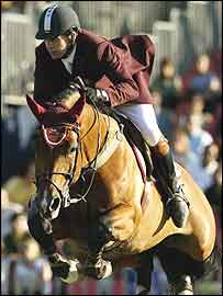 British equestrian rider Nick Skelton on his horse Arko III