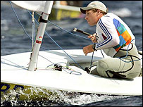 Paul Goodison competes in the Laser in Athens