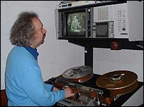 Edwin Parsons from the BBC Archive service watches the 1964 recording after 39 years in a cupboard
