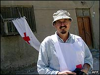 Enzo Baldoni, photographed at a Red Cross camp in Najaf on 19 August