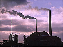 Industrial chimneys send up smoke (BBC)