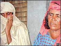 An alleged gang rape victim (L) and her mother in the Punjab in 2002