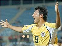 Paraguay's Fredy Bareiro celebrates a goal