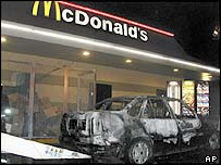 Damaged car outside McDonalds