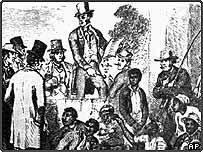 A slave market of African men