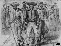 Undated photo of an illustration of pre-Civil war slave pens