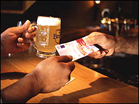 Paying for a beer with euros