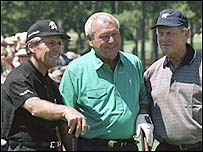Gary Player (left), Arnold Palmer (centre) and Jack Nicklaus at Augusta