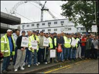 Workers hold protest at Wembley Stadium site