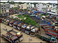 Trucks standing idle in Bangalore, south India