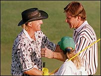 Greg Norman (left) congratulates Nick Faldo in 1996