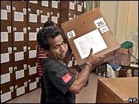 Ballot boxes are prepared in Sri Lanka