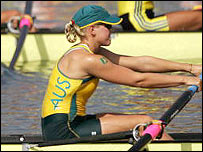 Australia's Sally Robbins in action before her collapse