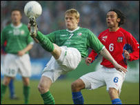 Damien Duff produced several moments of trickery for the Irish