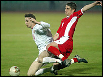 Wales midfielder Carl Robinson challenges Zoltan Gera of Hungary
