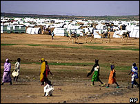 Displaced people in a refugee camp in northern Darfur