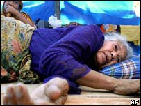 Elderly Acehnese woman in a refugee camp