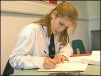 School pupil studying