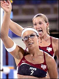 American players Kerri Walsh (right) and Misty May celebrate their victory