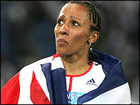 Kelly Holmes wrapped in the Union flag