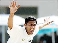 Anil Kumble appeals for a wicket