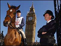 MP James Gray on horseback
