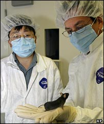 Ronald Evans (r) holds a genetically engineered mouse handed to him by researcher Yongxu Wang (AP)