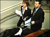 Home Secretary David Blunkett and Beverley Hughes