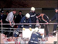 Scene of a suicide bombing in Istanbul in March 2001