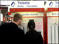 Two people looking at a ticket machine
