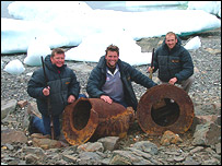 The team with engine parts, Royal Navy Expedition