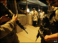 Israeli soldiers at the Kalandia checkpoint