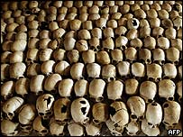 Skulls of Tutsi victims of the genocide are lined up at a memorial.