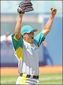 Australia pitcher Jeff Williams celebrates the famous win