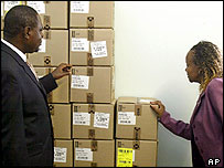 Gauteng Premier Sam Shilowa (l) and health official Gwen Ramogopa(r) inspect the ARV drugs