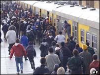 Commuters rush for train