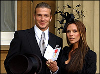 David Beckham having received his OBE