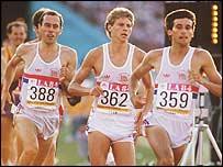 Steve Ovett, Steve Cram and Seb Coe at the LA Olympics in 1984