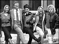 Michael Grade with original EastEnders cast in 1985