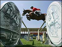 Germany's Ludger Beerbaum in action on Goldfever