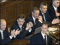 Czech leader Stanislav Gross and cabinet members