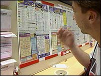 A punter in a betting shop