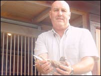 Kevin Roberts and his pigeon
