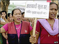 Nepalese industry and hotel employees protest against the blockade