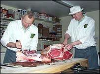Butchers at work in Manydown's farm shop
