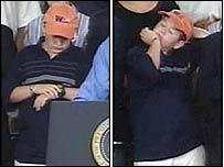 Tyler Crotty listens to President Bush