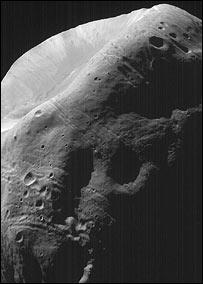 Phobos, pictured by Nasa's Mars Global Surveyor